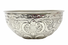 Moroccan Hammam Bowl Vintage made of Silver Maillechort Hand Engraved Large 19.5cm 7.7'' (Ref HB23)